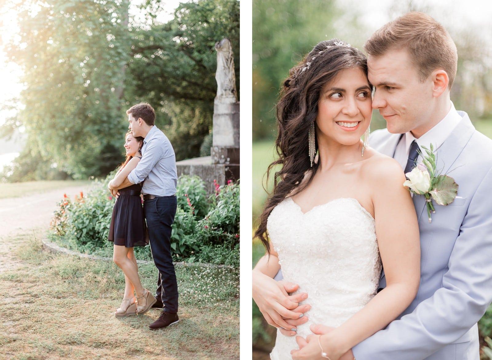 Photographie de Mathieu Dété, photographe de mariage à La Réunion, présentant des conseils pour des poses des shooting photo de couple, la femme est dos contre son mari