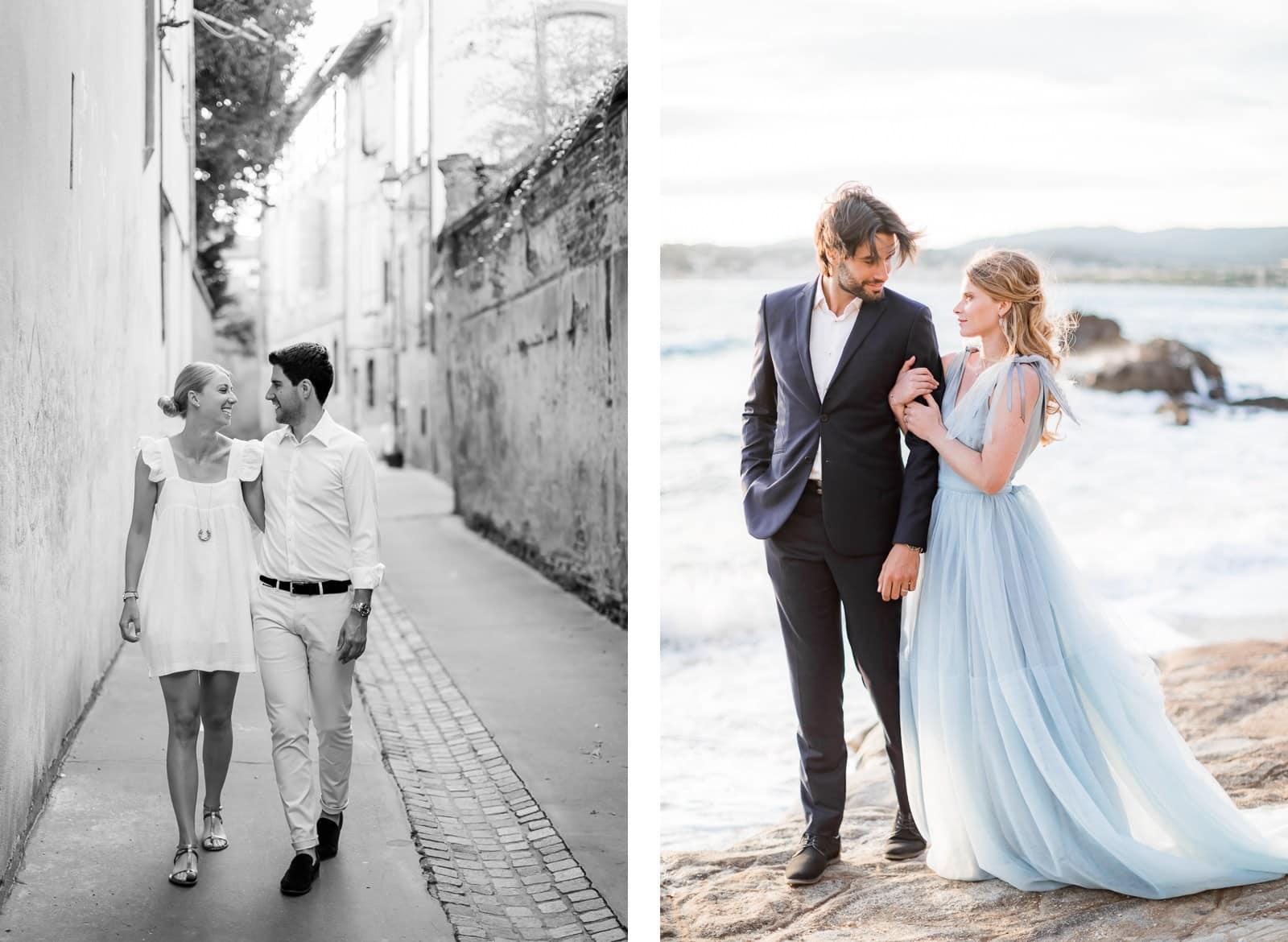Photographie de Mathieu Dété présentant les meilleures poses pour des shooting de couple, le couple marche ensemble main dans la main