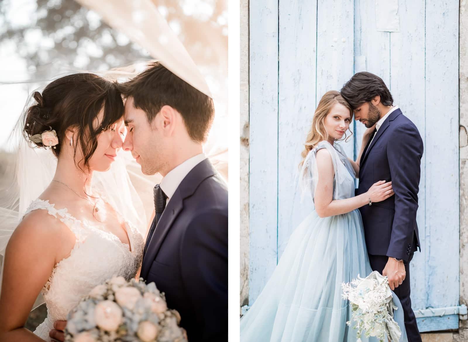 Photographie de Mathieu Dété, photographe de mariage à La Réunion, présentant les meilleures poses pour des shooting de couple, front contre front