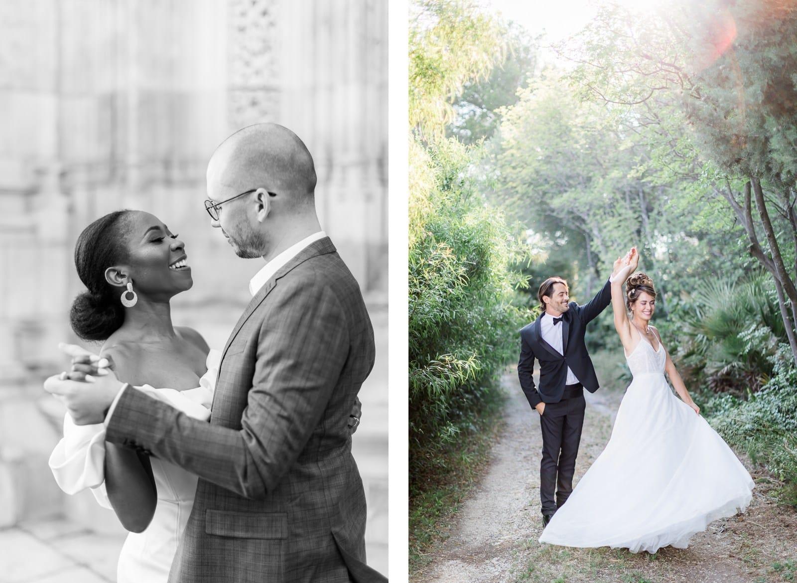Photographie de Mathieu Dété, photographe de mariage à La Réunion, présentant des conseils pour des photos shooting couple, les mariés sont en train de danser