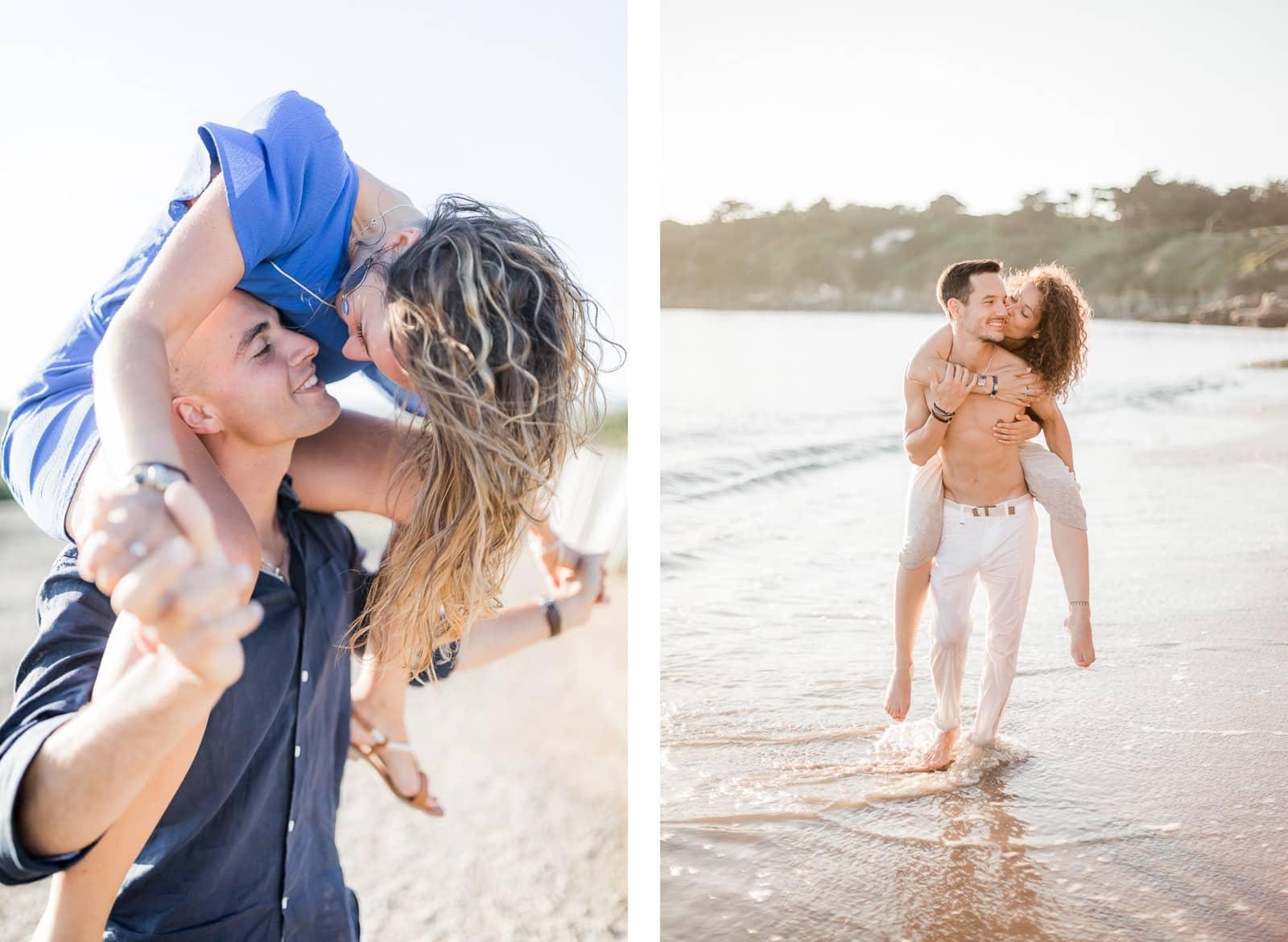 Photographie de Mathieu Dété, photographe de mariage sur l'île de La Réunion,  présentant des conseils pour des poses de photos de couple, la femme sur le dos de son fiancé