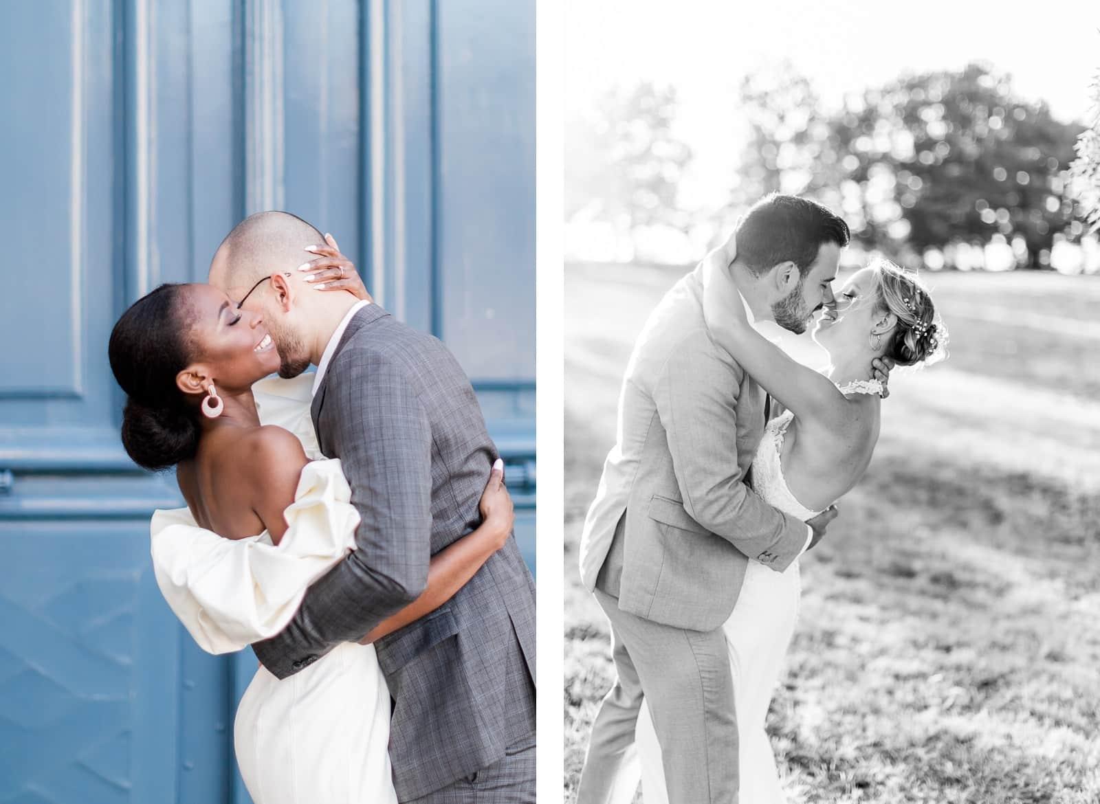 Photographie de Mathieu Dété, photographe de mariage sur l'île de La Réunion, présentant les meilleures poses pour des photos de couple, la fille bascule en arrière