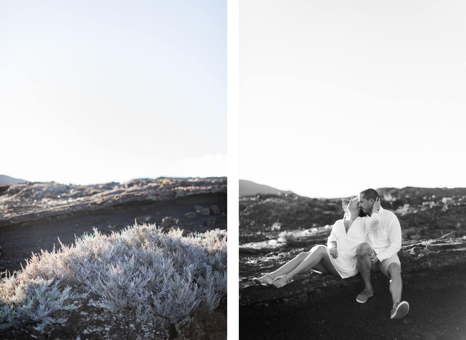 Photographie de Mathieu Dété, photographe de fiançailles et couple à Saint-Pierre de la Réunion 974, présentant une une femme collée à son compagnon à la Plaine des Sables
