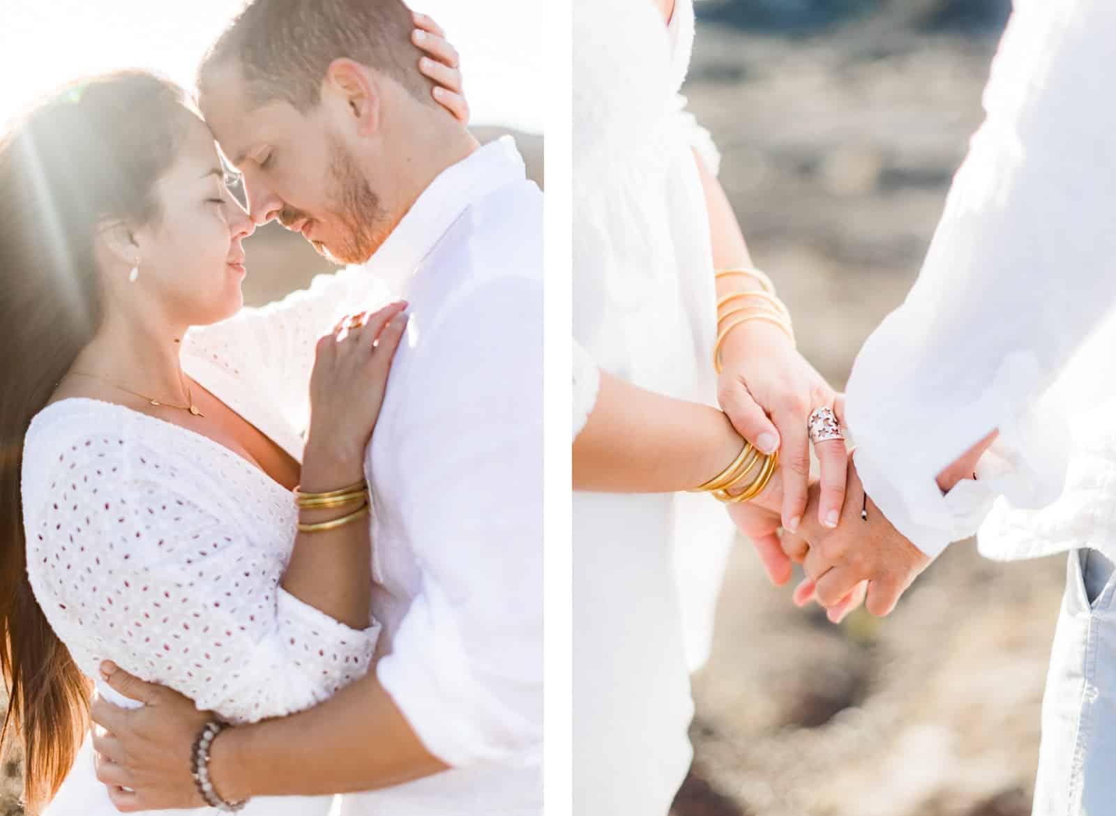 Photographie de Mathieu Dété, photographe de mariage et couple à Saint-Paul de la Réunion 974, présentant les détails d'un couple au lever du soleil