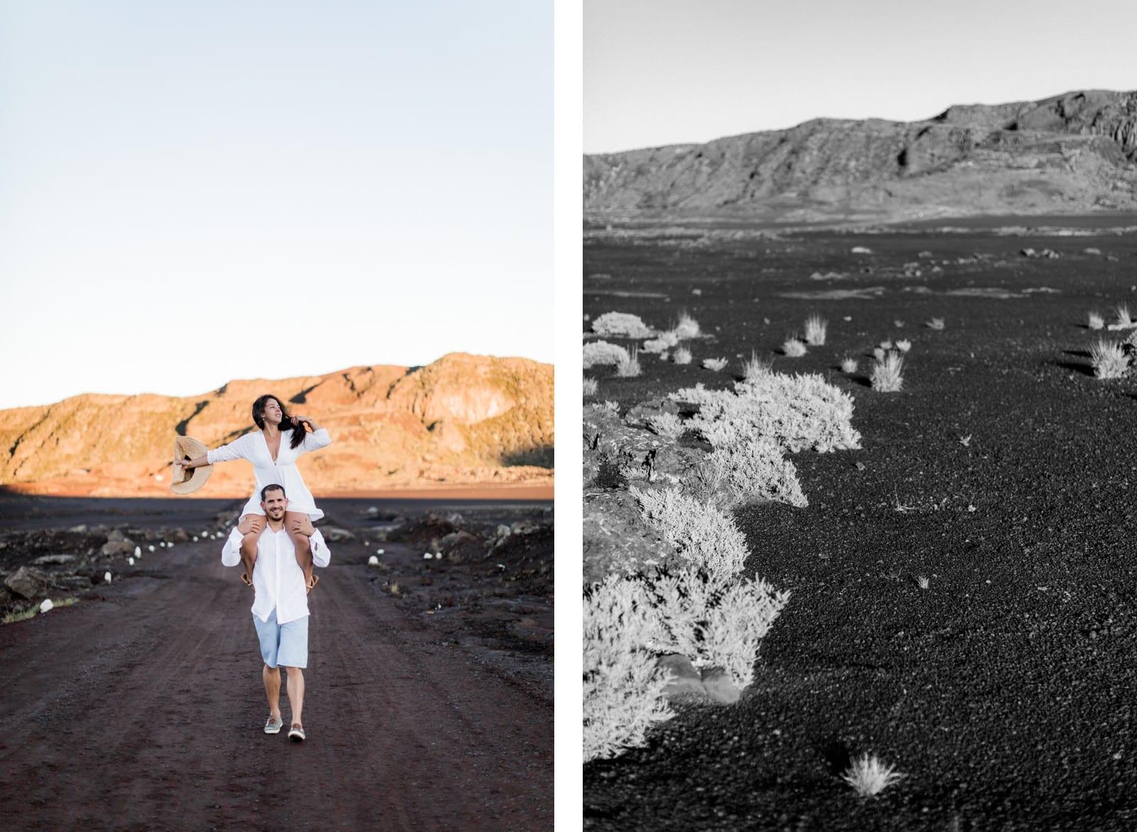 Photographie de Mathieu Dété, photographe de mariage et couple à Saint-Pierre de la Réunion 974, présentant une femme sur les épaules de son compagnon au lever du soleil à la Plaine des Sables