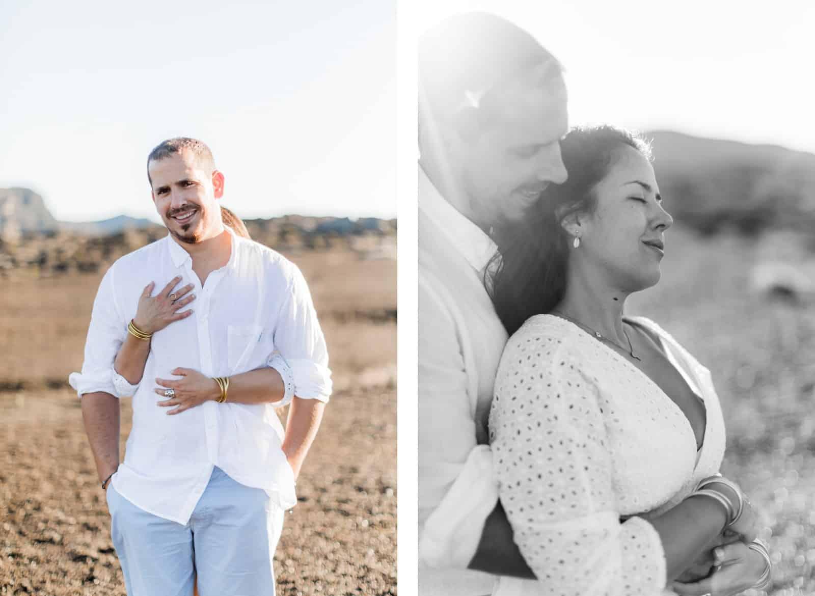 Photographie de Mathieu Dété, photographe de mariage et fiançailles à Saint-Denis de la Réunion 974, présentant un couple enlacé au lever du soleil