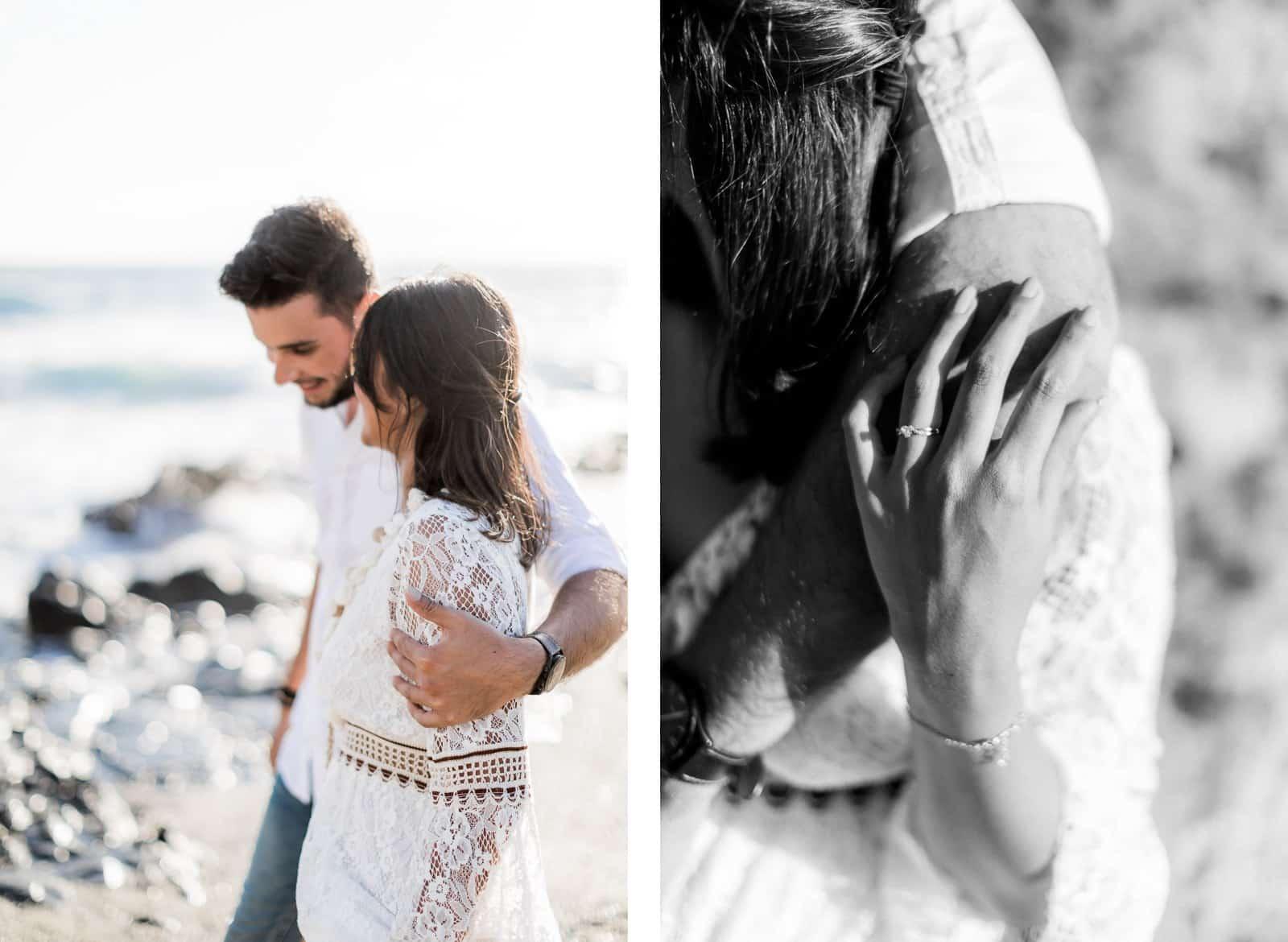 Photographie d'une séance photo au Cap La Houssaye, de Mathieu Dété, photographe de grossesse et naissance à Saint-Leu sur l'île de la Réunion 974, présentant les détails des mains d'un couple heureux et souriant