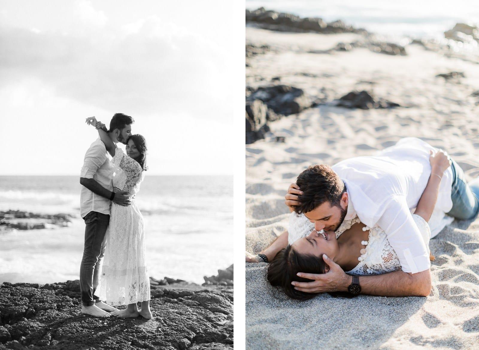 Photographie de Mathieu Dété, photographe de grossesse et naissance à Saint-Leu sur l'île de la Réunion 974, présentant un couple qui s'embrasse sur une plage de Saint-Paul