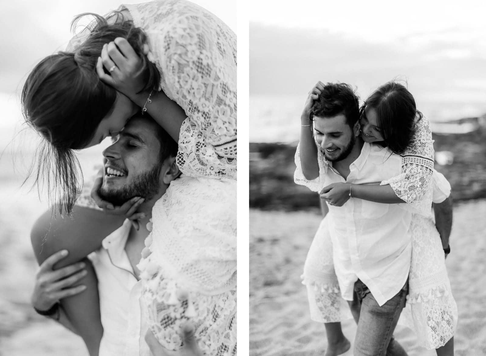 Photographie de Mathieu Dété, photographe de grossesse et naissance à Saint-Leu sur l'île de la Réunion 974, présentant une femme sur les épaules de son homme en noir et blanc