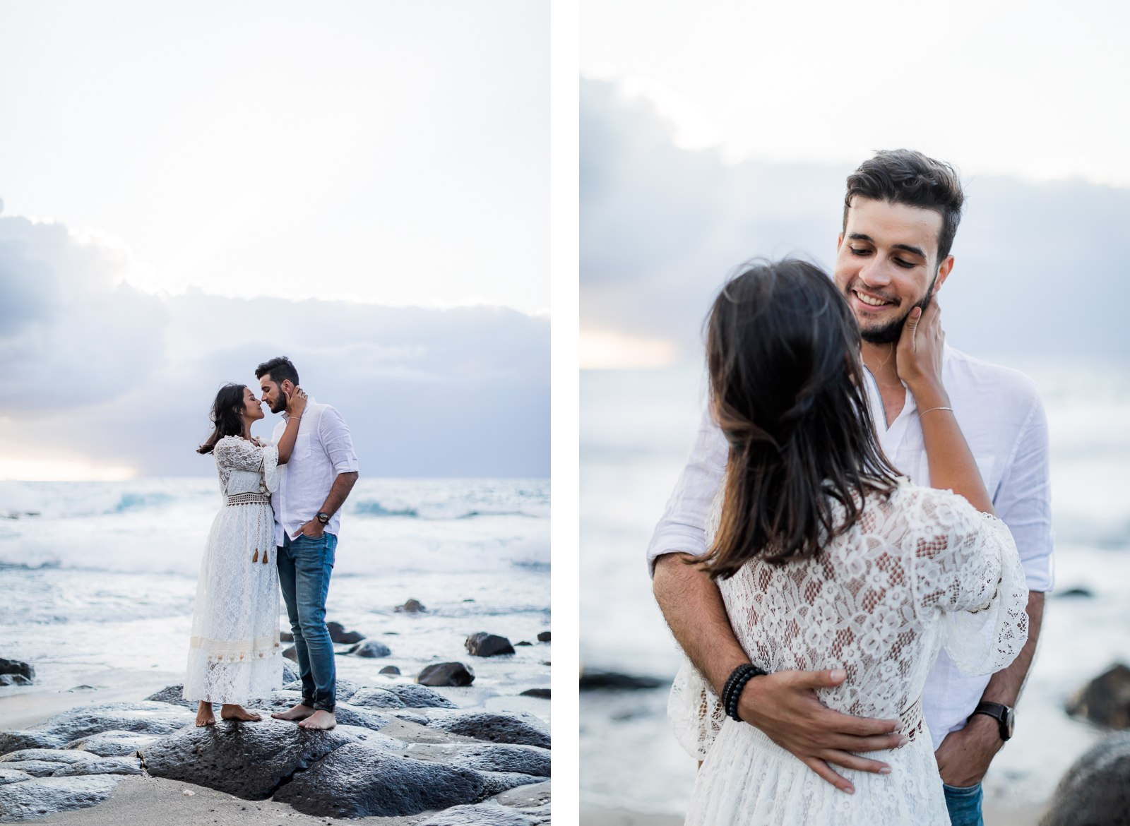 Photographie de Mathieu Dété, photographe de mariage et de couple à Saint-Pierre sur l'île de la Réunion 974, présentant un couple souriant au Cap la Houssaye
