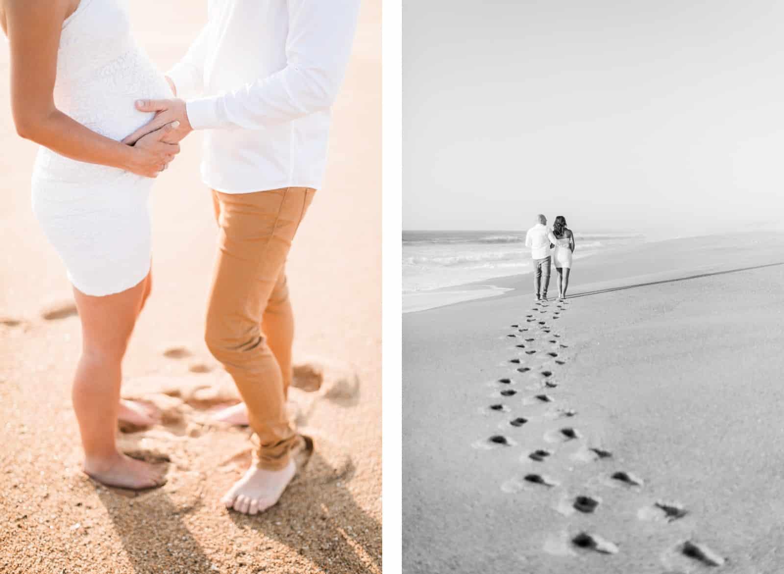 Photographie de Mathieu Dété, photographe de couple et grossesse à Saint-Pierre de la Réunion 974, présentant les pas d'un couple sur le sable d'une plage