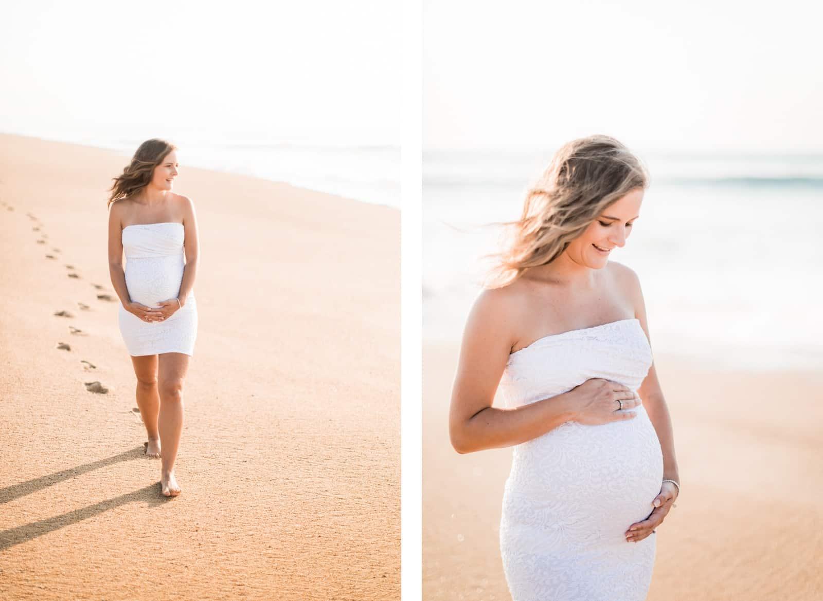Photographie de Mathieu Dété, photographe de couple et grossesse à Saint-Pierre de la Réunion 974, présentant un portrait d'une future maman sur la plage