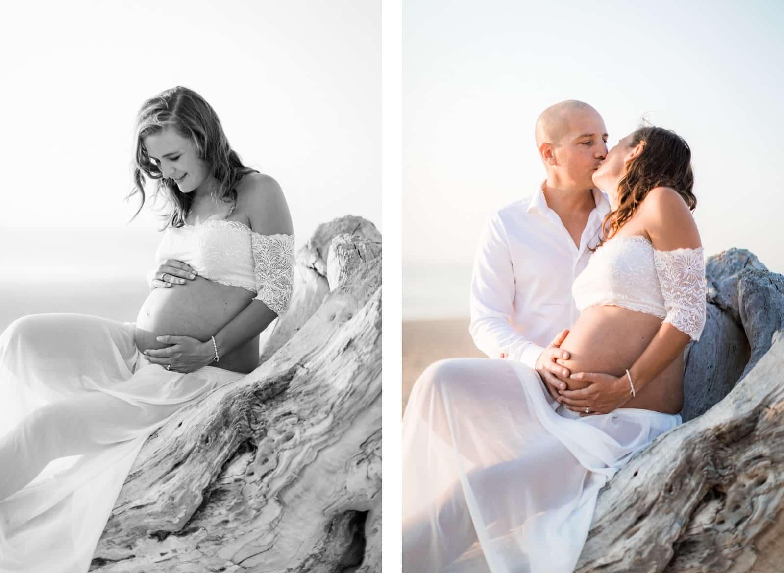 Photographie de Mathieu Dété, photographe de mariage et grossesse à Saint-Pierre de la Réunion 974, présentant des futurs parents amoureux sur la plage au coucher de soleil