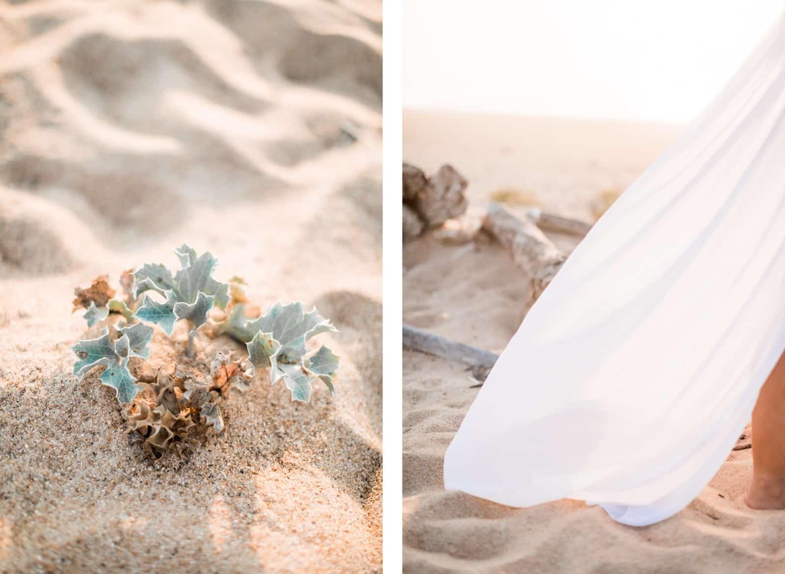 Photographie de Mathieu Dété, photographe de mariage et grossesse à Saint-Pierre de la Réunion 974, présentant des détails de la robe et de la plage lors d'une séance grossesse