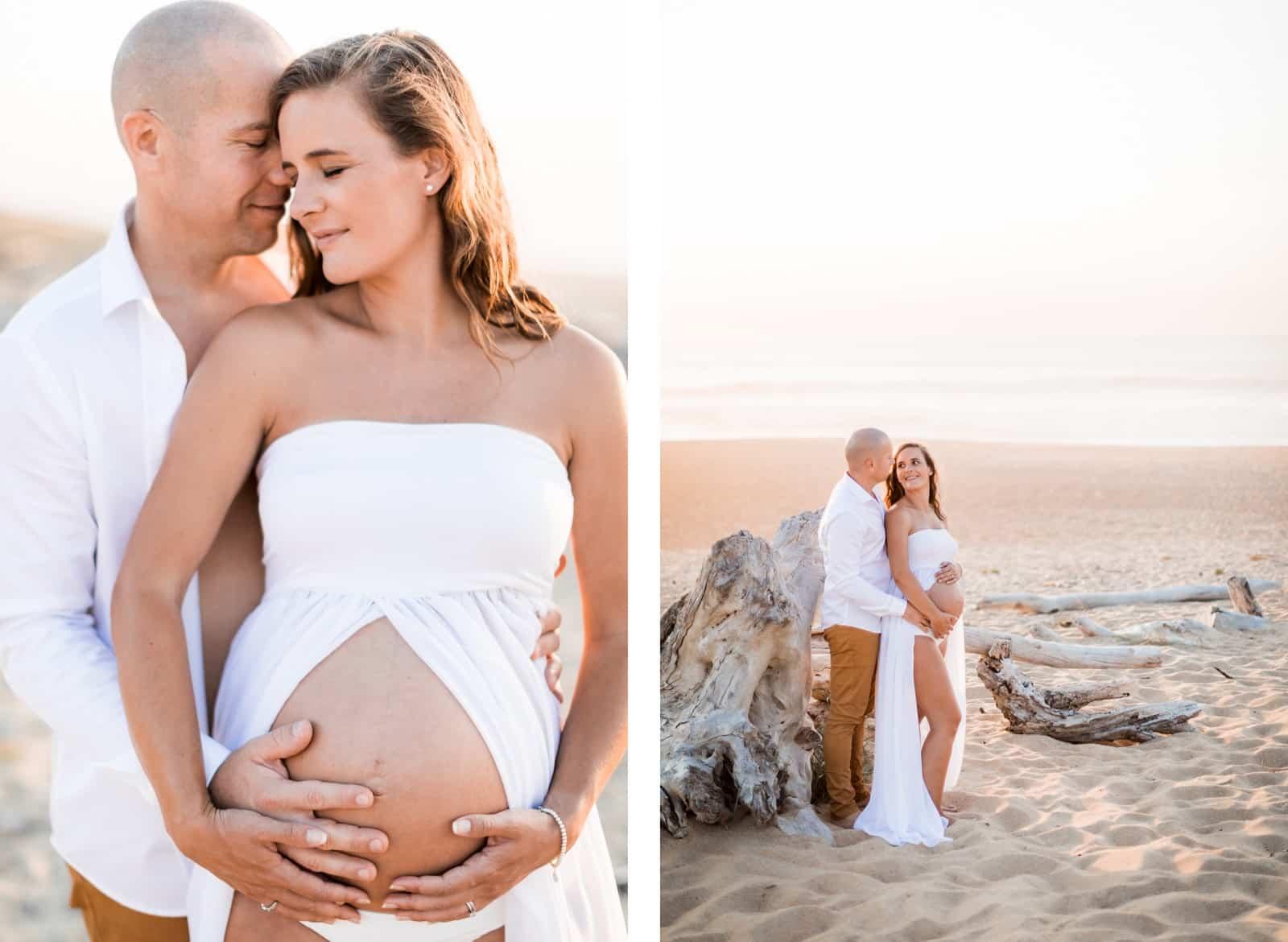 Photographie de Mathieu Dété, photographe de mariage et famille à Saint-Gilles de la Réunion 974, présentant des futurs parents amoureux sur la plage au coucher de soleil