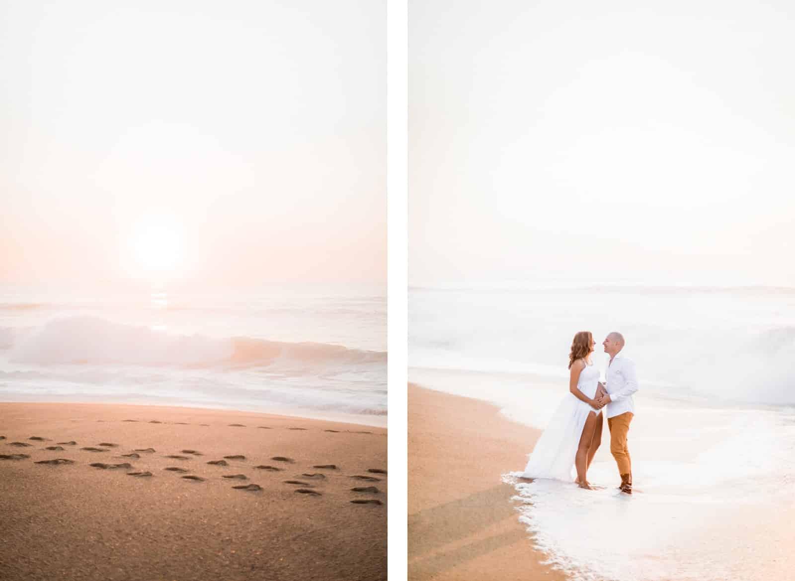 Photographie de Mathieu Dété, photographe de mariage et famille à Saint-Gilles de la Réunion 974, présentant des futurs parents amoureux sur la plage de Labenne dans les Landes lors d'une séance grossesse