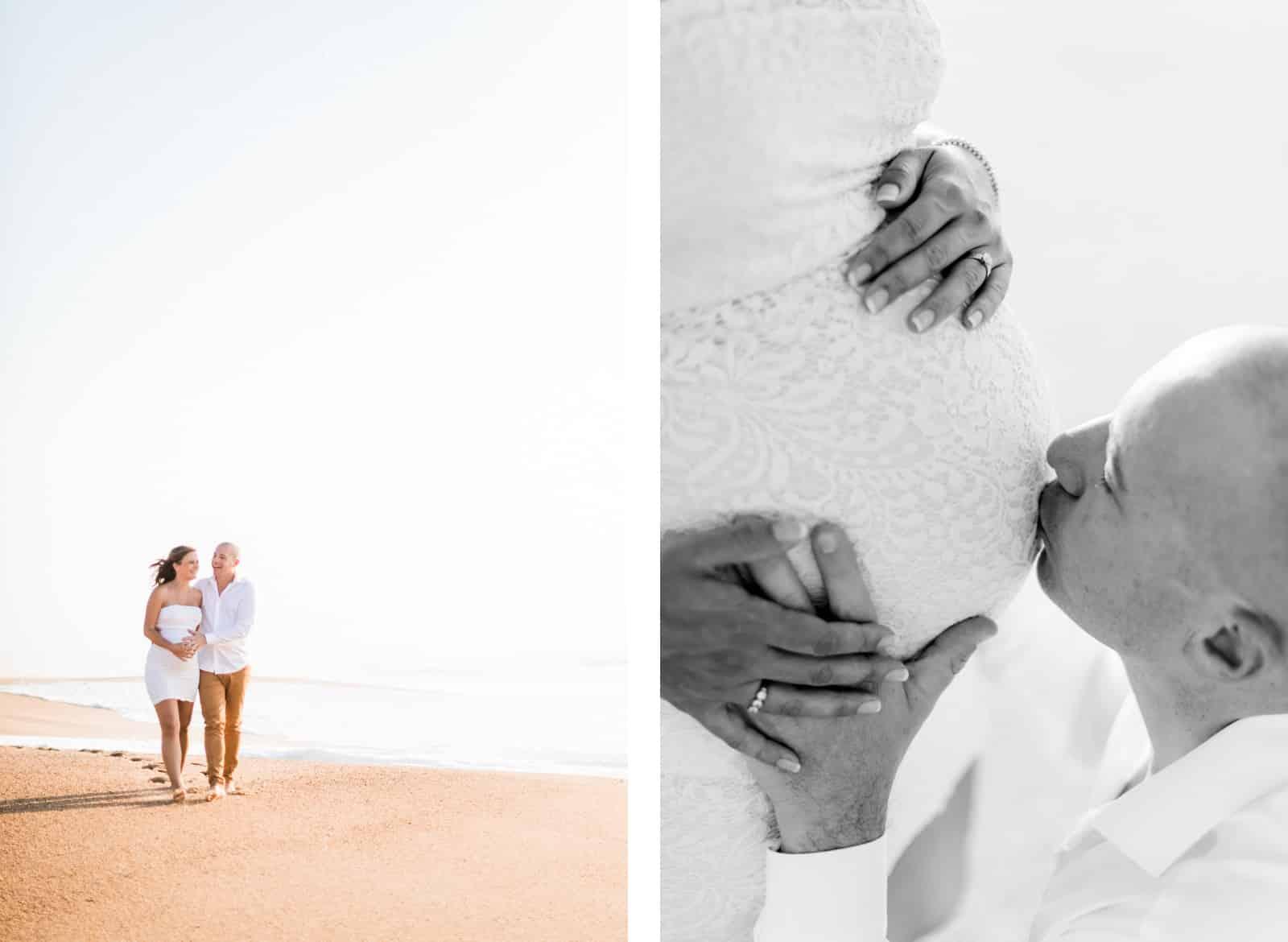 Photographie de Mathieu Dété, photographe de couple et grossesse sur l'île de la Réunion 974, présentant le père faisant un bisou sur le vendre rond de la mère