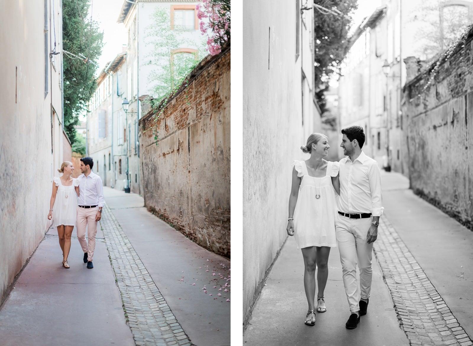 Photographie de Mathieu Dété, photographe de couple et famille à Saint-Pierre de la Réunion (974), présentant un couple se baladant dans les ruelles du centre de Toulouse