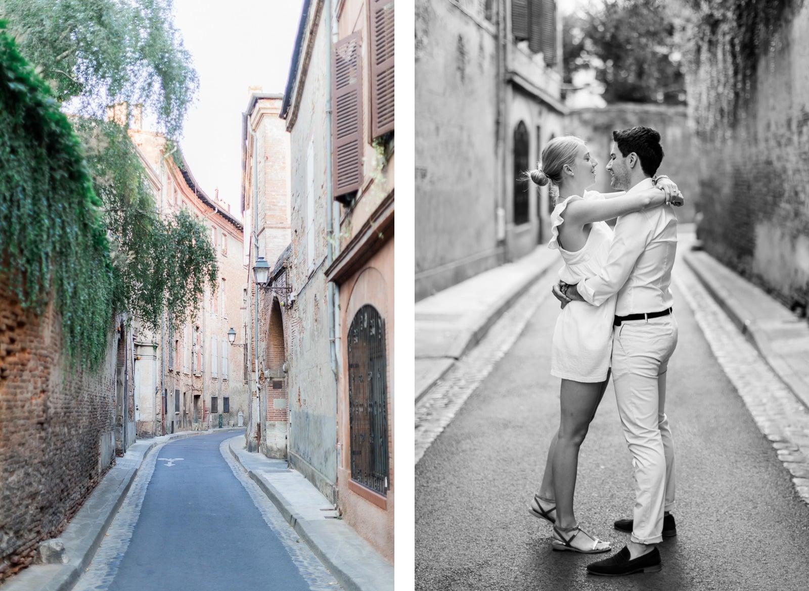 Photographie de Mathieu Dété, photographe de couple et famille à Saint-Pierre de la Réunion (974), présentant un couple au milieu d'une ruelle de Toulouse