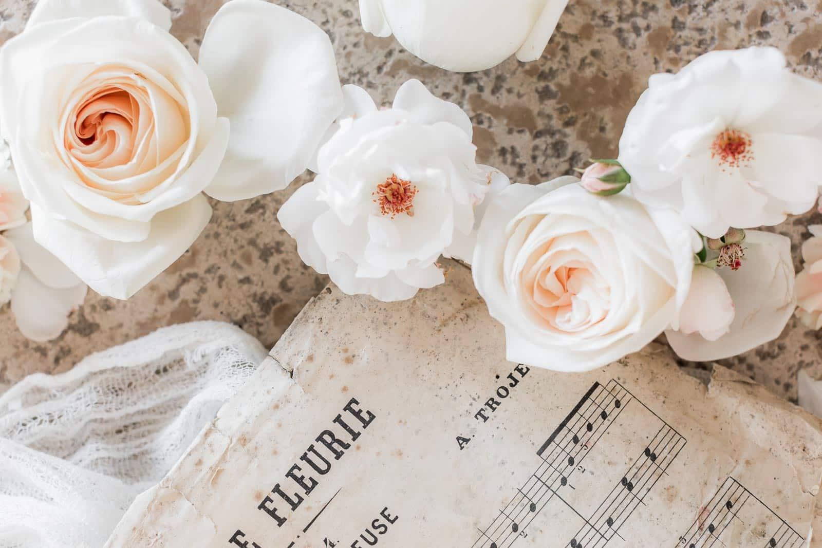 Photographie de Mathieu Dété présentant un flat lay d'une partition de musique fleurie