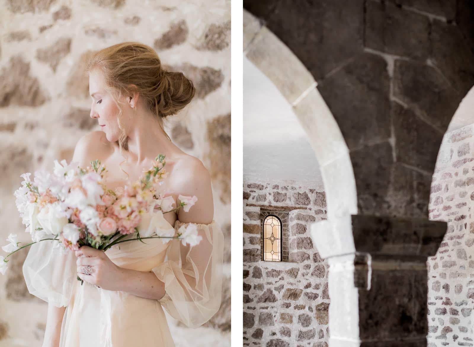 Photographie de Mathieu Dété présentant un portrait de la mariée et les arches à l'intérieur du Château Saint Julien d'Aille à Vidauban