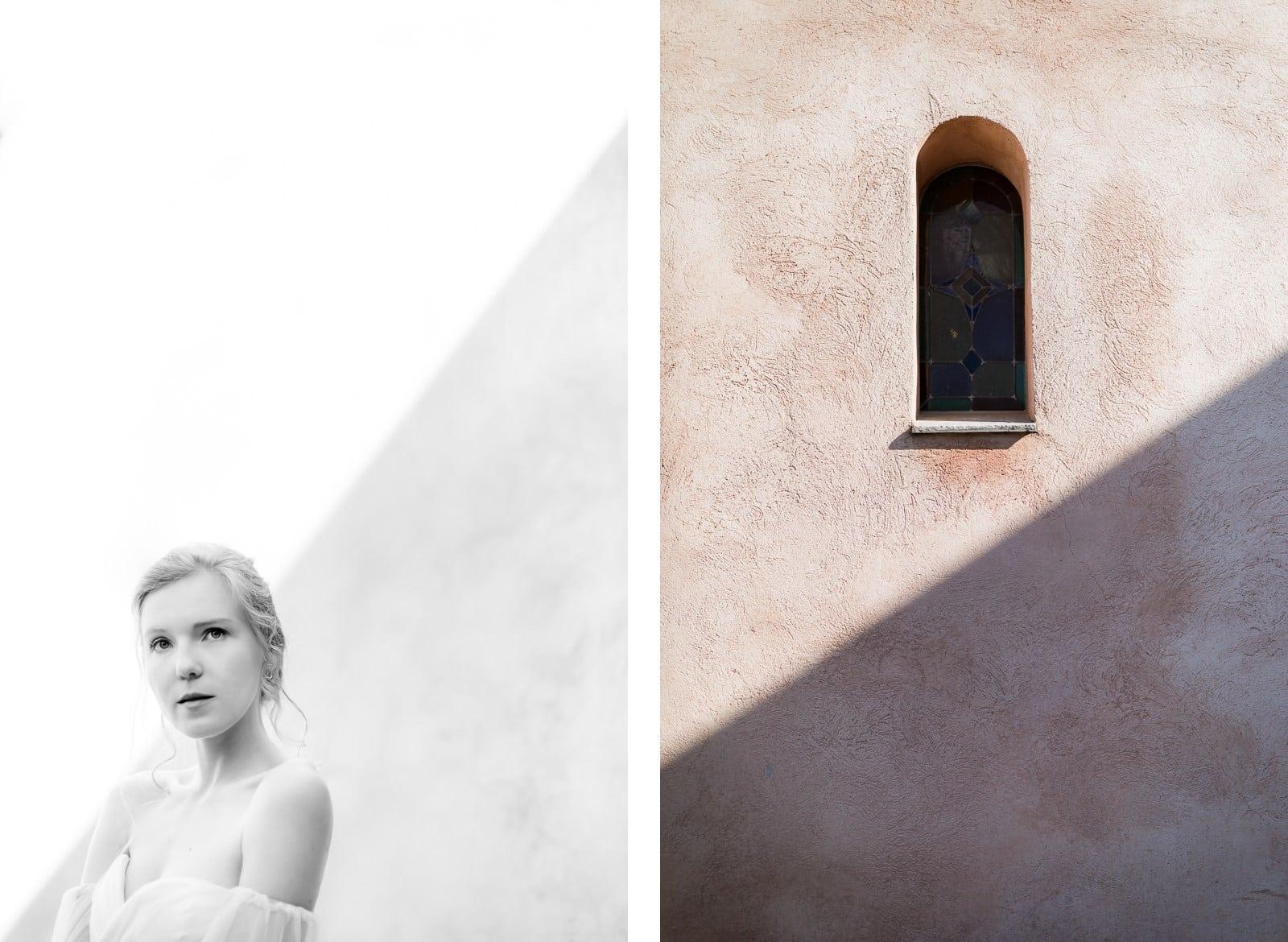 Photographie de Mathieu Dété présentant un portrait de la mariée et les ombres au Château Saint Julien d'Aille à Vidauban