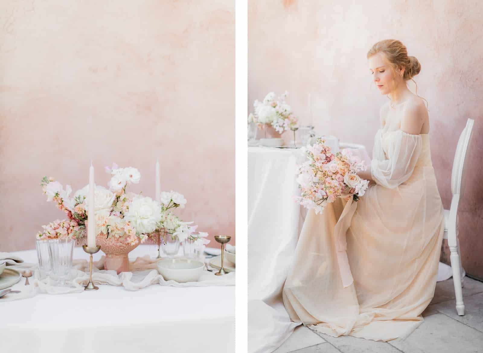 Photographie de Mathieu Dété présentant la mariée assise à la table fleurie du Château Saint Julien d'Aille à Vidauban