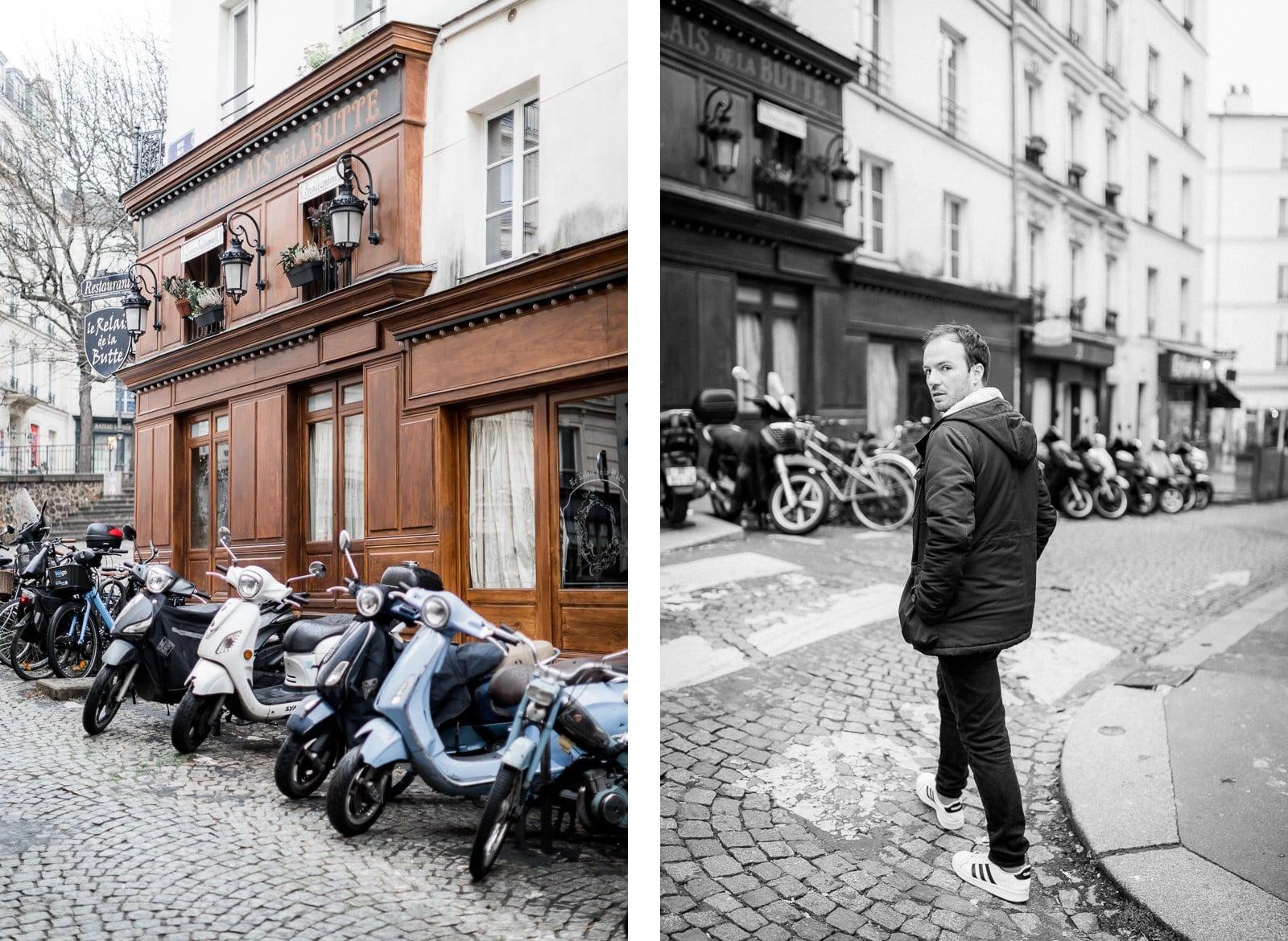 Photographie de Mathieu Dété, photographe de mariage et portrait sur l'île de la Réunion (974), présentant un portrait du chanteur Benoît Dorémus dans une ruelle pavée de Paris
