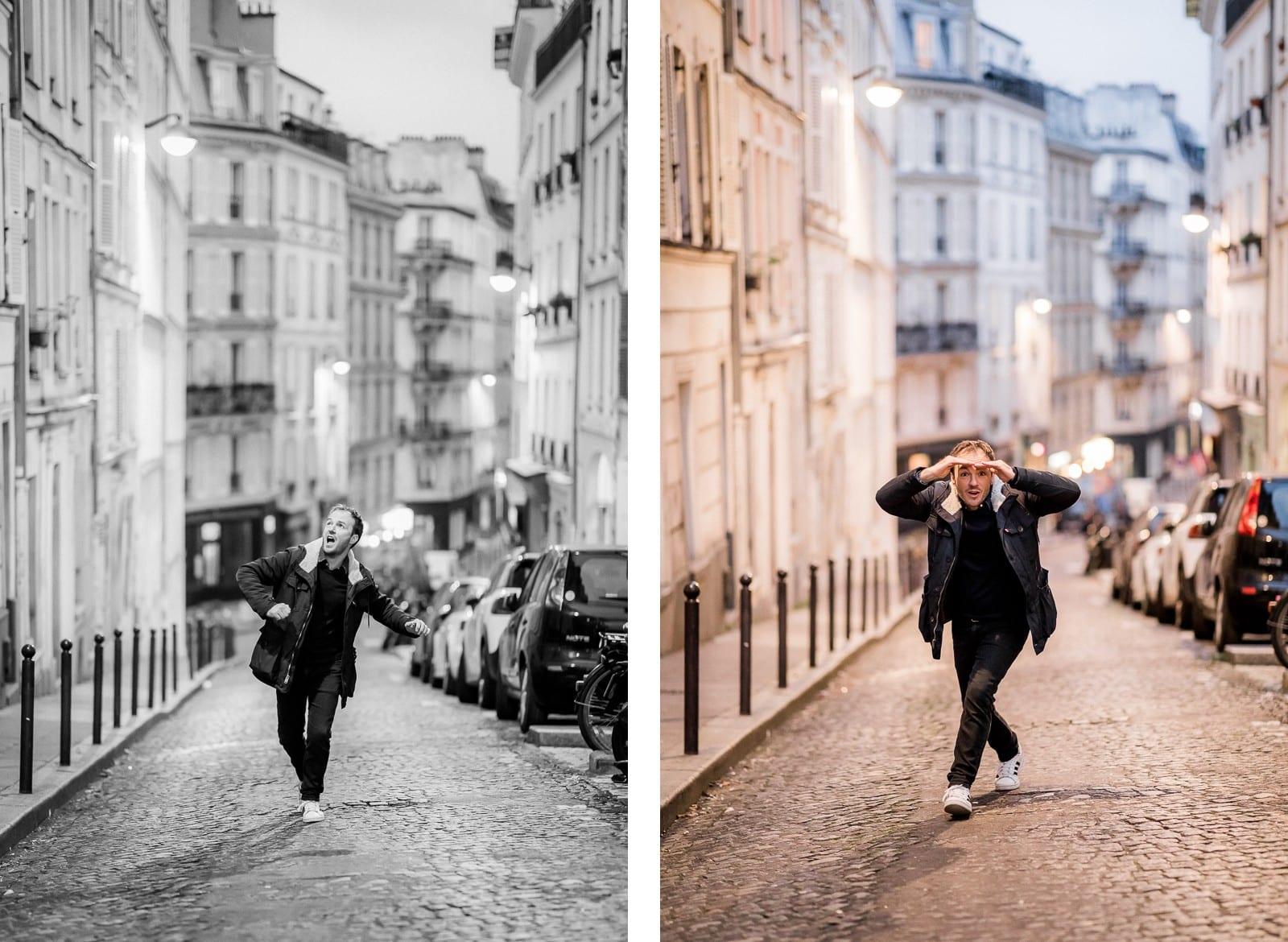 Photographie de Mathieu Dété, photographe de mariage et portrait sur l'île de la Réunion (974), présentant un portrait du chanteur Benoît Dorémus qui rigole et marche dans une ruelle de Paris
