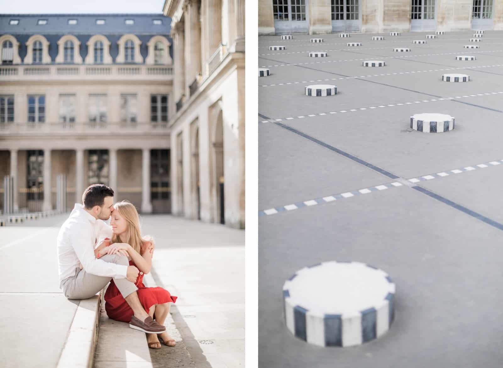 Photo de Mathieu Dété, couple assis près des colonnes de Buren