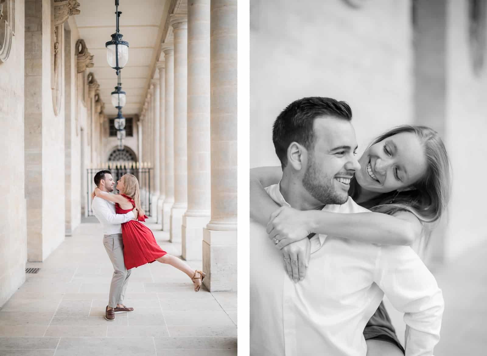 Photo de Mathieu Dété, couple enlacé dans les allées du Palais Royal de Paris