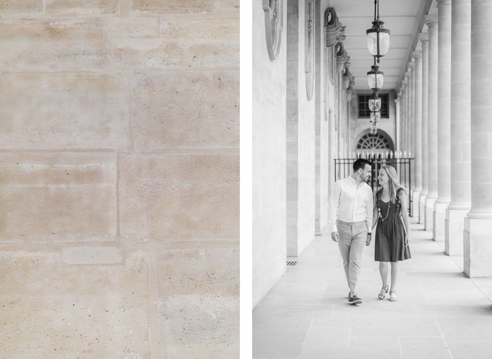 Photo de Mathieu Dété, couple marchant dans les allées du Palais-Royal