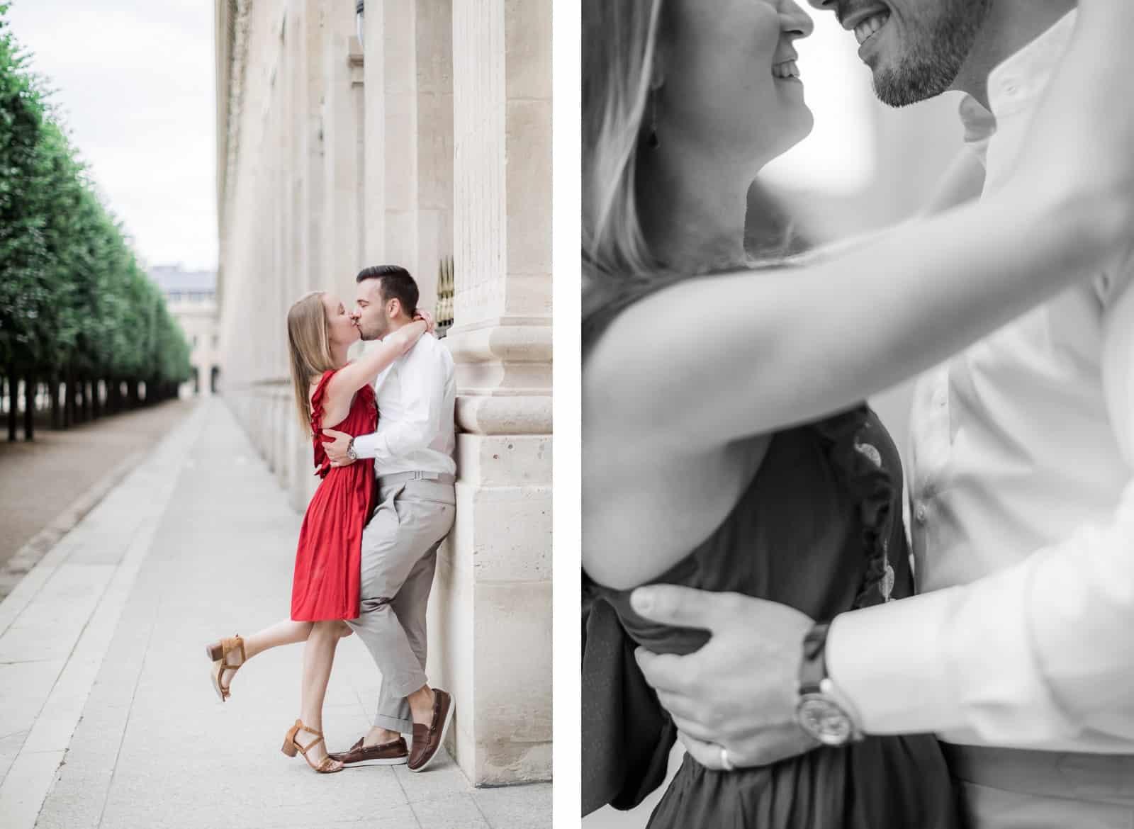 Photo de Mathieu Dété, couple enlacé dans les jardins du Palais-Royal de Paris