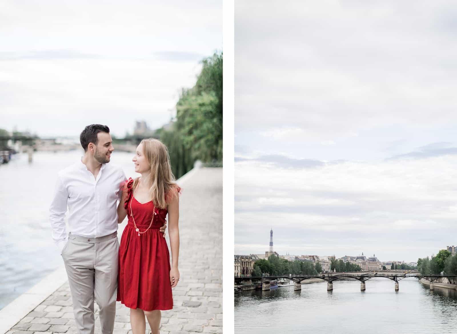 Photo de Mathieu Dété, couple marchant en bord de Seine à Pont Neuf