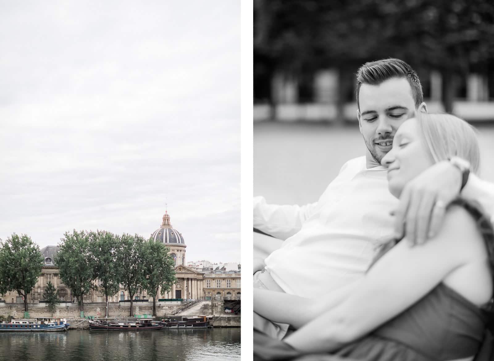 Photo de Mathieu Dété, couple enlacé sur un banc dans Paris