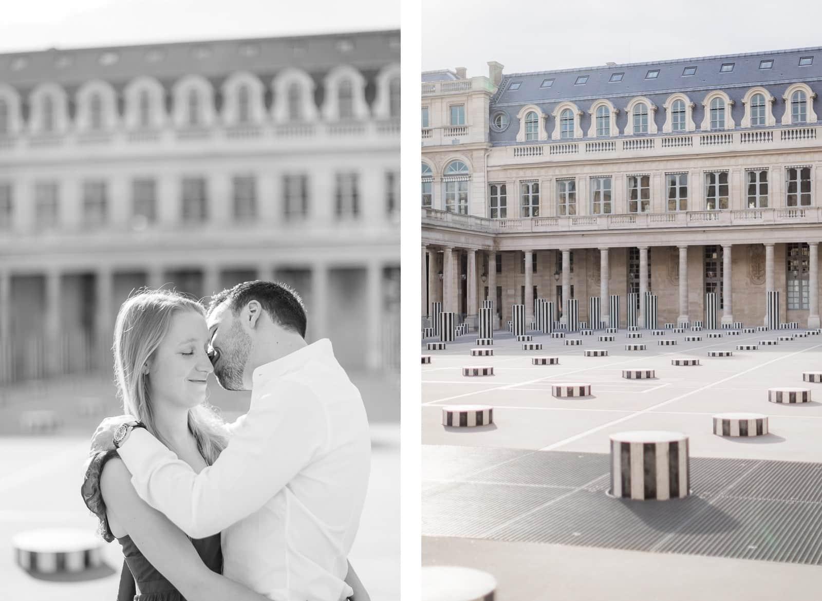 Photo de Mathieu Dété, couple enlacé près des colonnes de Buren