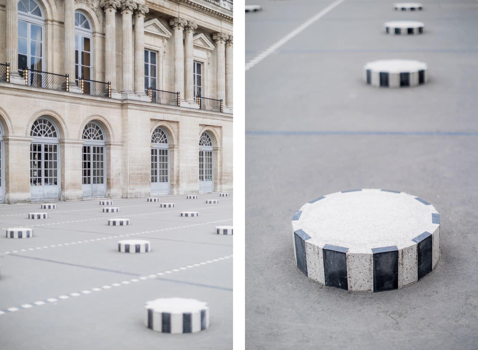 Photo de Mathieu Dété, détail des colonnes de Buren du Palais Royal à Paris
