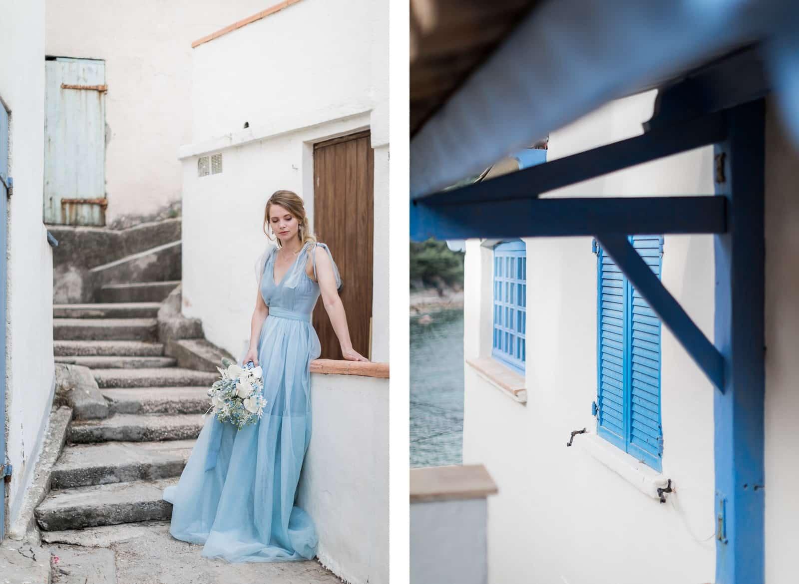 Photographie de Mathieu Dété, photographe de mariage sur l'île de la Réunion (974), présentant une mariée dans un petit village et une maison avec les volets bleu