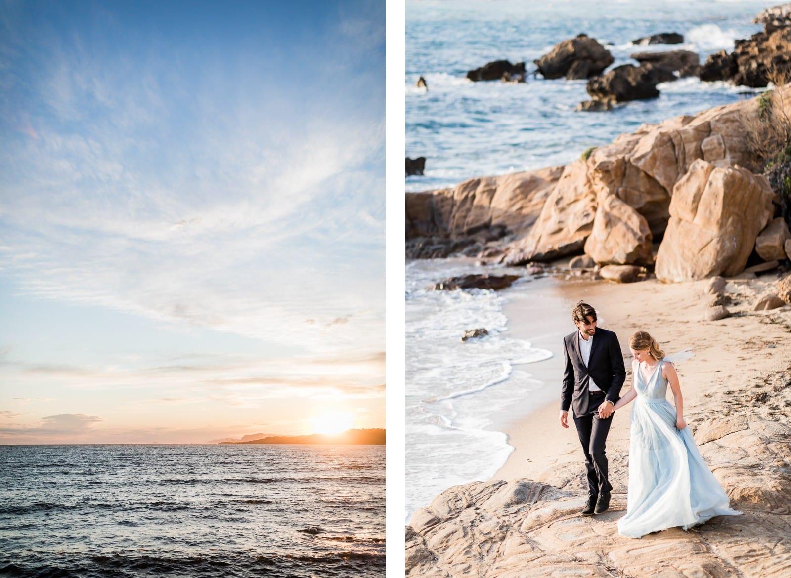 Photographie de Mathieu Dété, photographe de mariage sur l'île de la Réunion (974), présentant un coucher de soleil sur les rochers et la plage