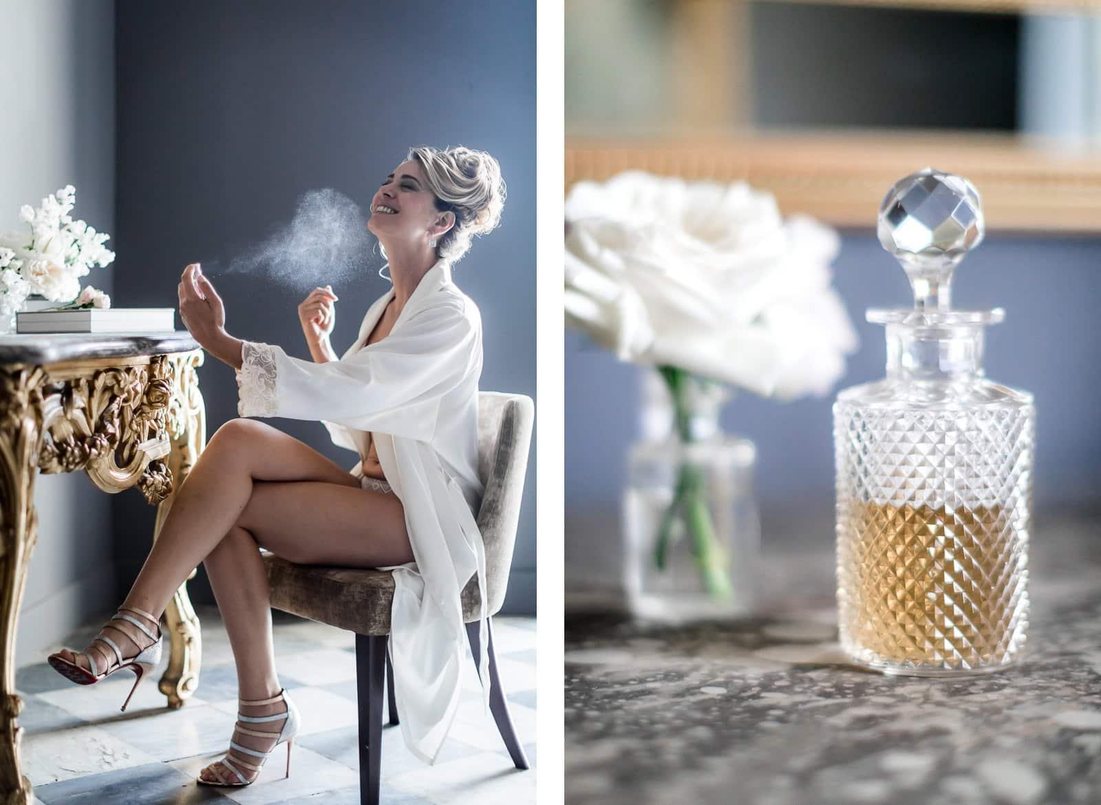 Photographie de Mathieu Dété présentant des portraits et détails du parfum de la mariée pendant ses préparatifs à l'intérieur de la Villa Brignac à Ollioules
