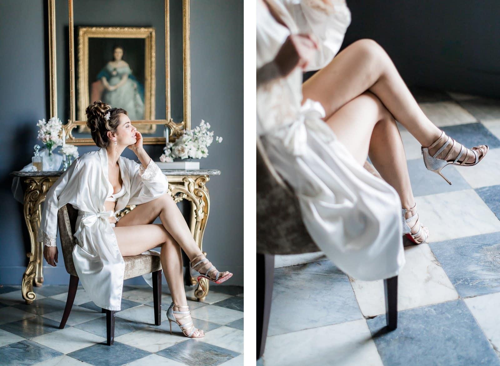 Photographie de Mathieu Dété présentant des portraits de la mariée pendant ses préparatifs à l'intérieur de la Villa Brignac à Ollioules