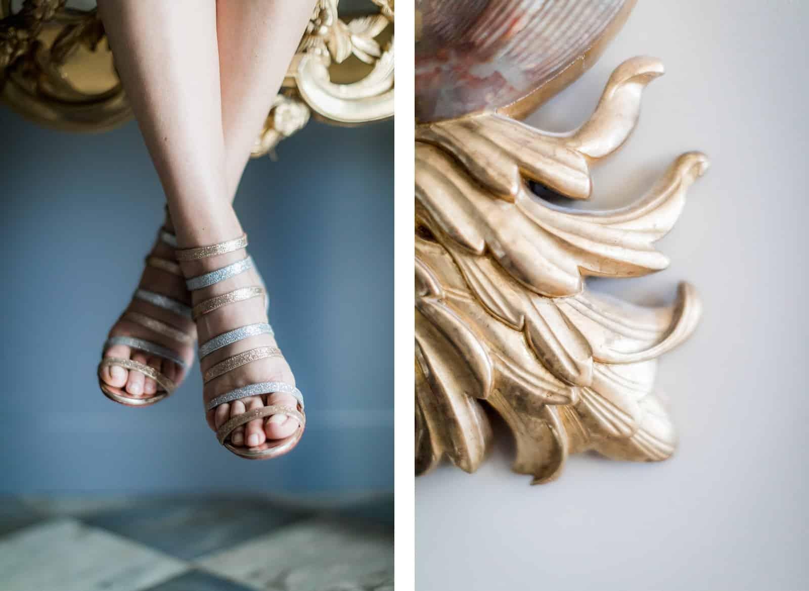 Photographie de Mathieu Dété présentant des détails des chaussures de la mariée pendant ses préparatifs à l'intérieur de la Villa Brignac à Ollioules