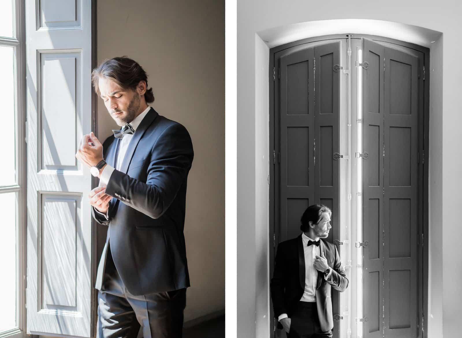 Photographie de Mathieu Dété présentant un portrait du marié dans la Villa Brignac