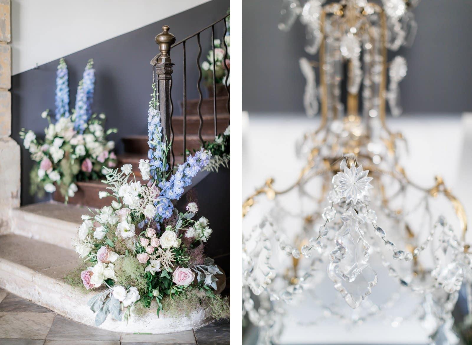 Photographie de Mathieu Dété présentant la décoration florale du mariage à l'intérieur de la Villa Brignac à Ollioules
