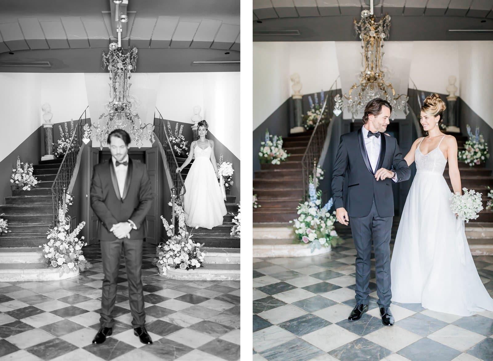Photographie de Mathieu Dété présentant le first look (premier regard) entre les mariés, dans les escaliers de la Villa Brignac à Ollioules