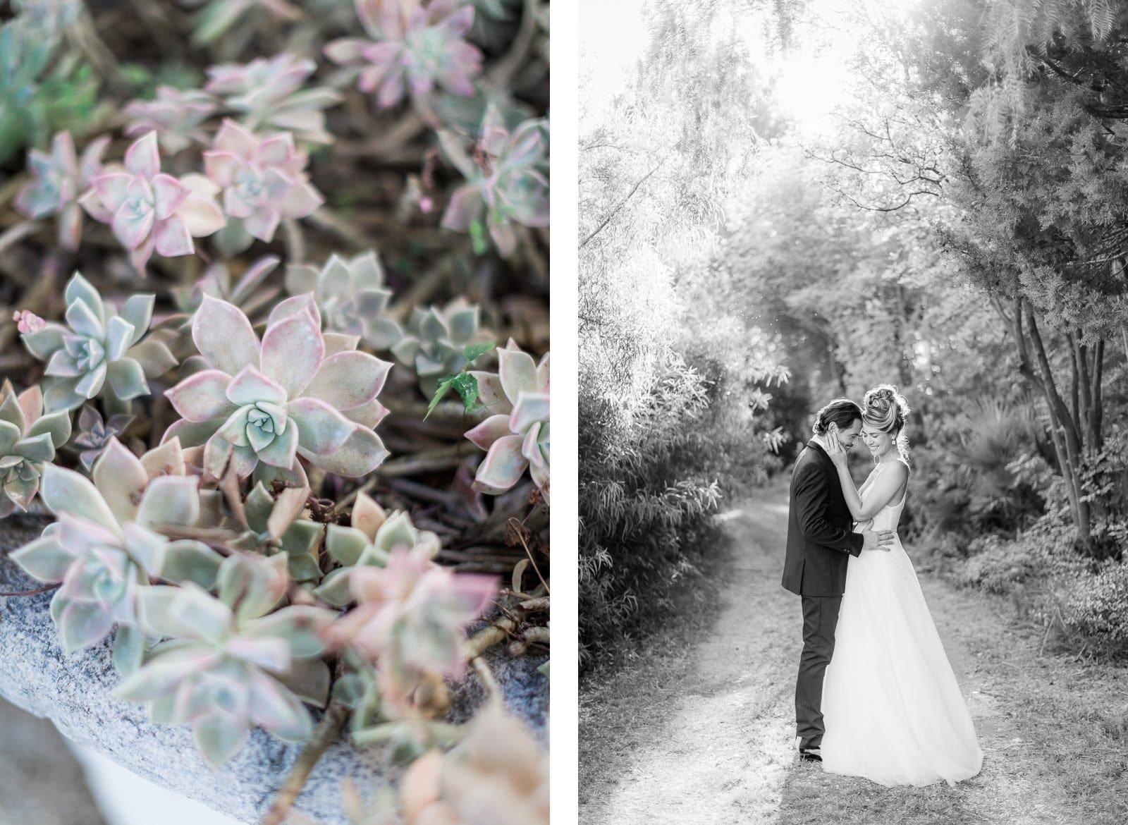Photographie de Mathieu Dété présentant les mariés en train de danser dans les jardins de la Villa Brignac à Ollioules
