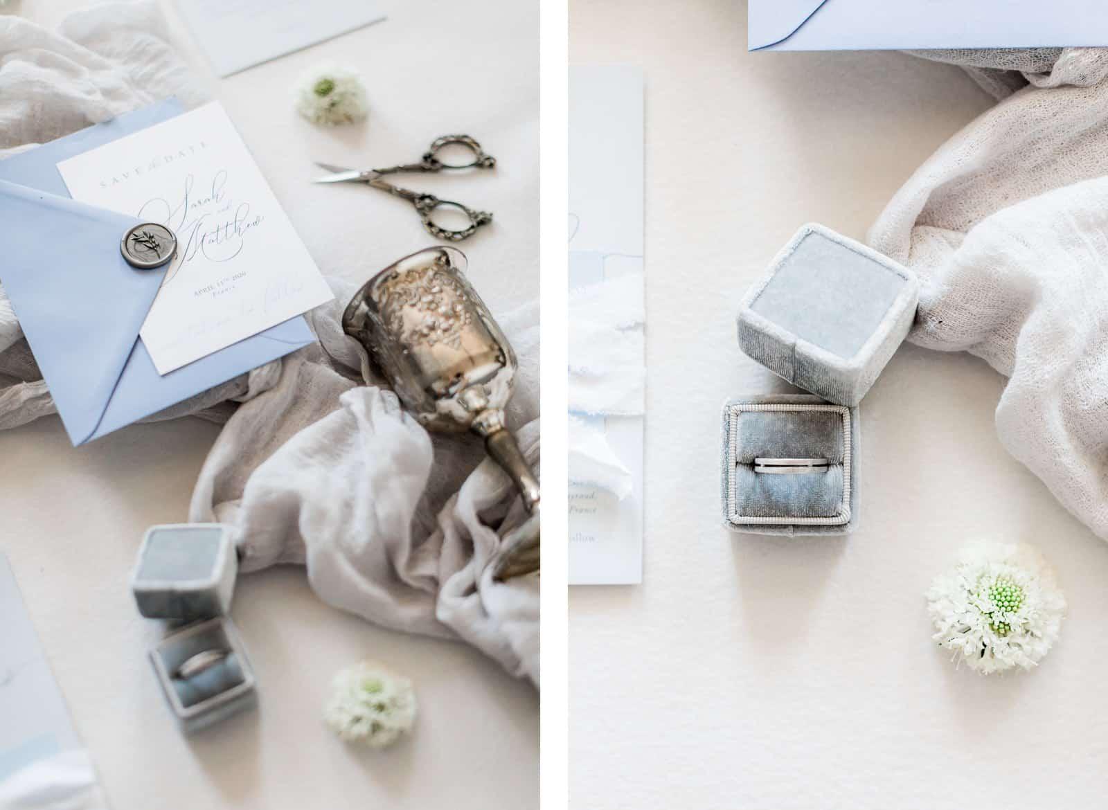 Photographie de Mathieu Dété présentant un flat lay de la papéterie et des objets du mariage