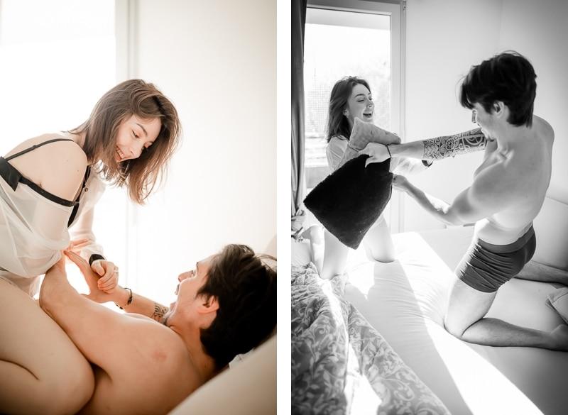 Bataille d'oreillers - Séance couple intimité Mathieu Dété