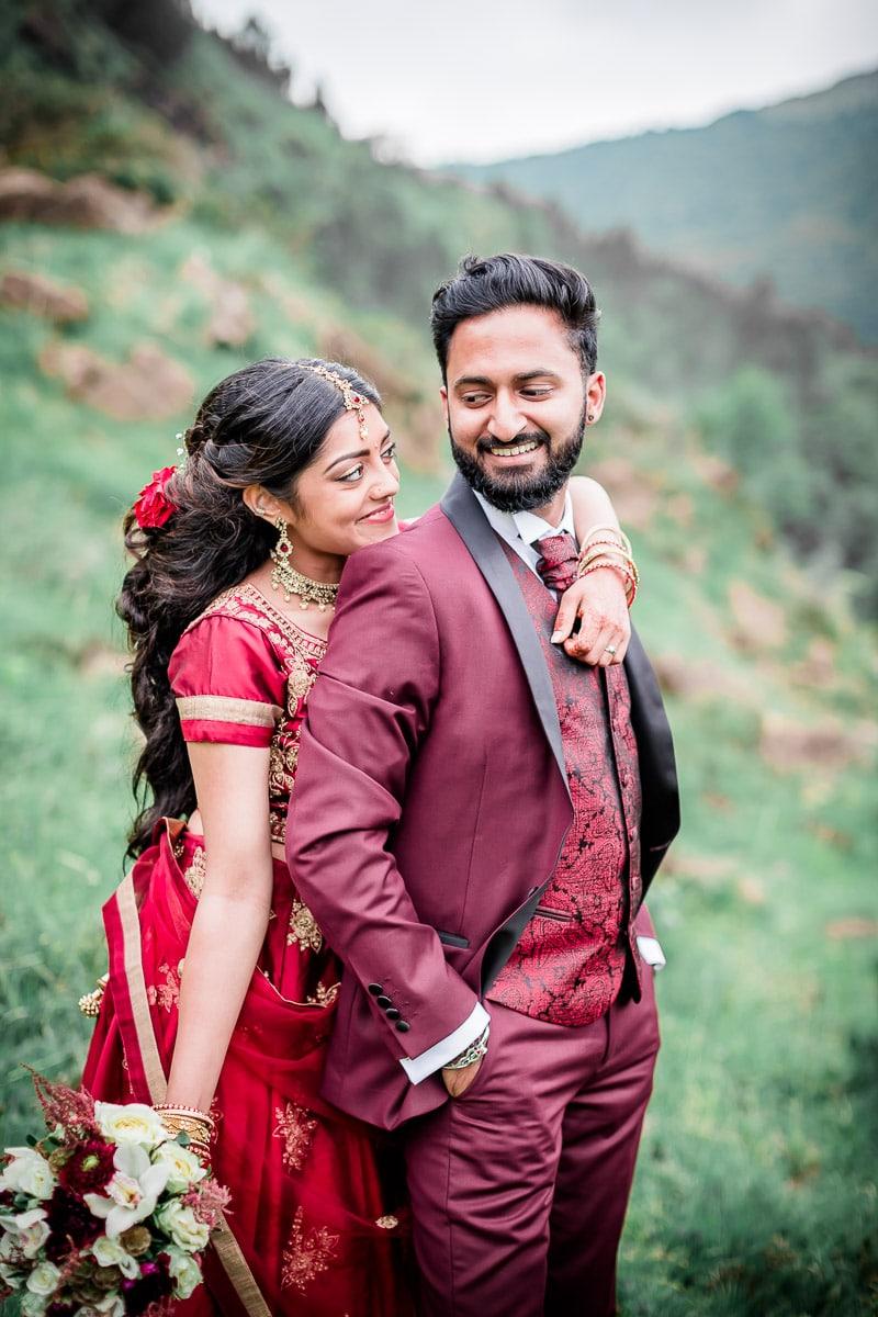 Couple mariage indien Tamoul dans les Pyrénées