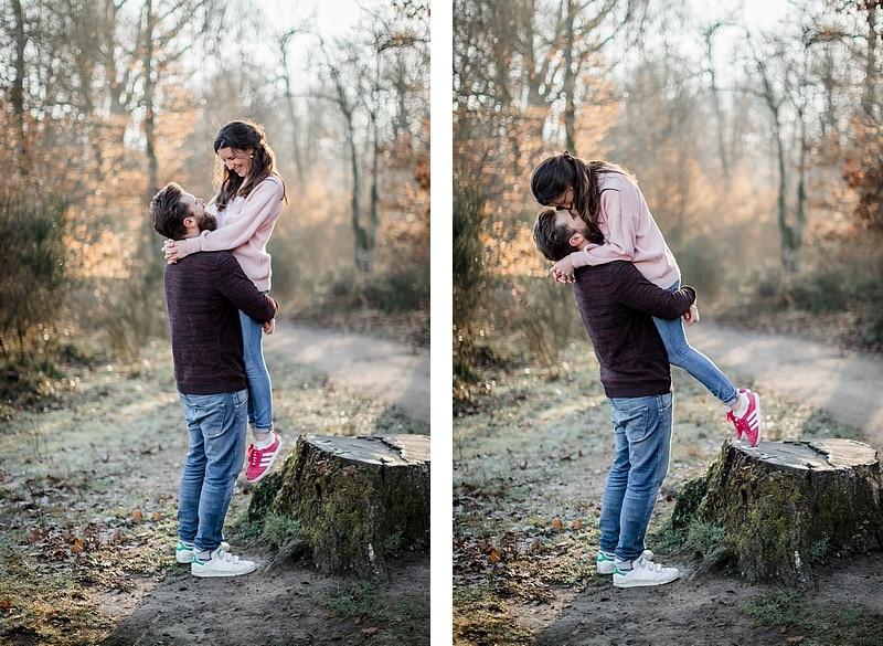 Portrait de couple dans la forêt - Photographe mariage portrait Toulouse